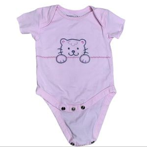5/20$ Sears Baby Pink Cat Onesie for baby girl 6 M